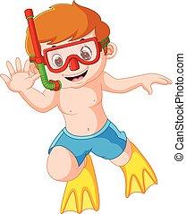 跳水, 漂亮, 水下通气管, 男孩