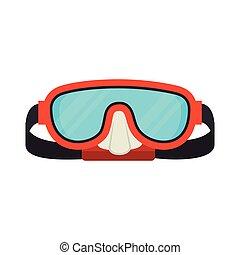 跳水, 面罩, 眼鏡, 水下通气管, 圖象, 矢量, 圖表