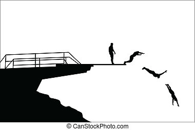 跳水, 黑色半面畫像