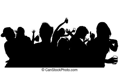 跳舞, 人群, 黑色半面畫像