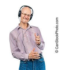 跳舞, 人, whith, 頭戴收話器