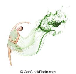 跳舞, 在運動中, 由于, 飛行, 織品