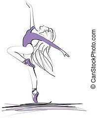 跳舞, 芭蕾舞女演員, 女孩, 芭蕾舞, 黑色半面畫像