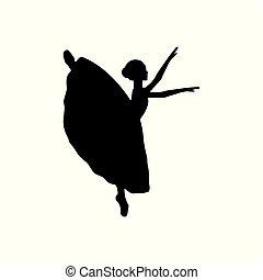 跳舞, 芭蕾舞女演員, 女孩, 黑色半面畫像, 芭蕾舞