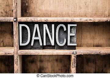 跳舞, 葡萄收获期, letterpress, 类型, 在中, 抽屉
