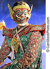 """跳舞, 藝術, 叫, """"khon"""", an, high-class, ......的, 具有歷史意義, 跳舞"""