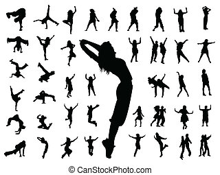 跳舞, 跳躍, 黑色半面畫像, 人們