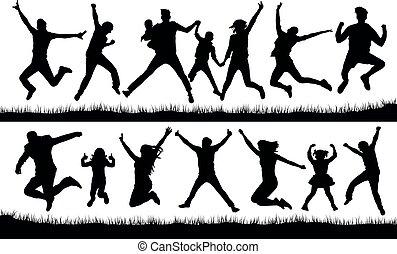跳跃, 人们, 侧面影象, 矢量
