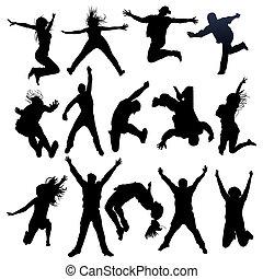 跳跃, 同时,, 飞行, 人们, 侧面影象