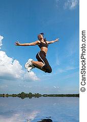 跳躍, の上, 女, 水