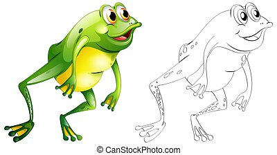 跳躍, アウトライン, カエル, 動物