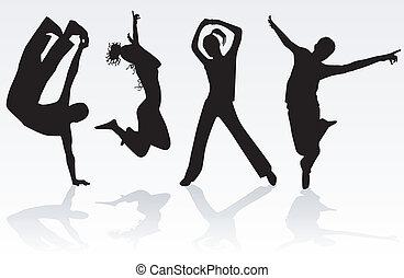 跳躍, グループ, 人々