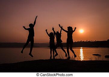 跳躍, シルエット, 家族