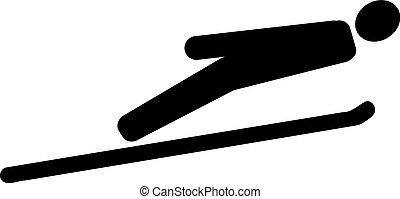 跳躍, スキー, pictogram