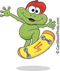 跳躍, スケートボード, 漫画, カエル