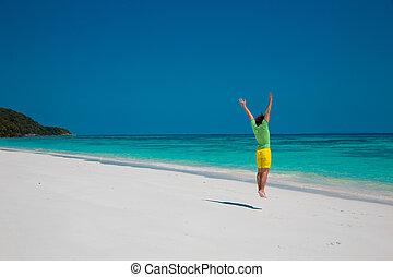 跳躍, トロピカル, 若い, 休暇, 夏, リラックスしなさい, 人, ハンサム, 屋外, 肖像画, 浜