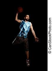 跳躍, バスケットボール選手, ボール, バスケット, 投球