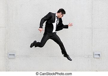跳躍, ビジネスマン, 通り, 若い, ハンサム, メガネ