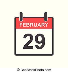 跳躍, ベクトル, icon., 29, style., 日, 2 月, カレンダー, 平ら, イラスト