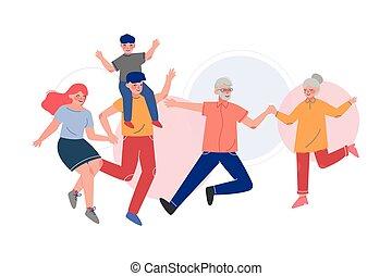 跳躍, 一緒に, 母, ∥(彼・それ)ら∥, 持つこと, 幸せ, イラスト, 楽しみ, 父, 家族, ベクトル, 子供