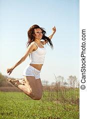跳躍, 中間の 大人, 女
