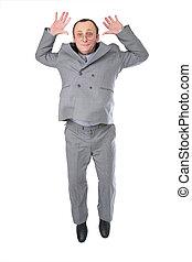 跳躍, 人, 年長者, 在, 灰色, 衣服