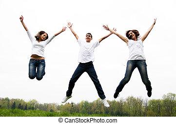 跳躍, 友人, 幸せ