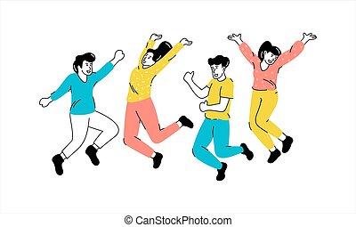 跳躍, 図画, 人々, illustrarion, 若い