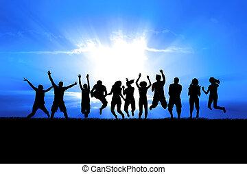 跳躍, 太陽は放射する, 人々