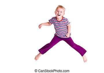 跳躍, 女の子, 若い, 打撃, スタジオ