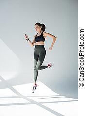 跳躍, 女孩, 在, 運動裝