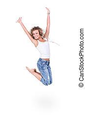 跳躍, 女性の 微笑, 空気, 若い