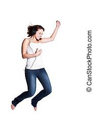 跳躍, 女, 美しい, 喜び