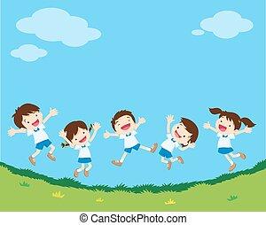 跳躍, 学生, 幸せ