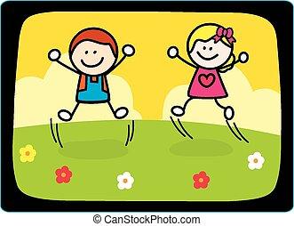 跳躍, 幸せ, 子供, 遊び