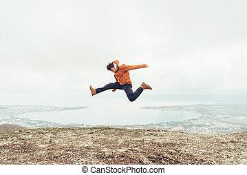 跳躍, 幸せ, 屋外, 人