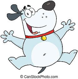 跳躍, 幸せ, 灰色, 犬, 脂肪