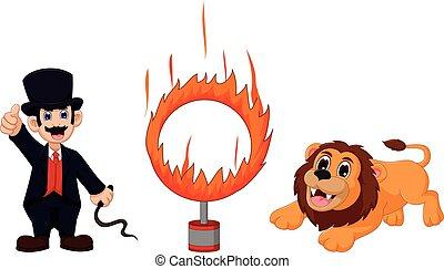 跳躍, 火, ライオン, 漫画, 魅力, リング