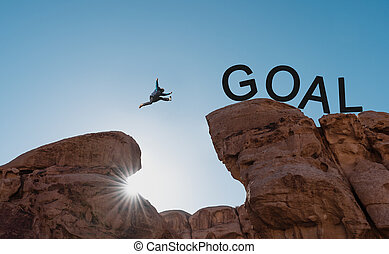 跳躍, 絶壁, concepts., 上に, 挑戦, 危険, 人, ゴール, 達成, 成功, シルエット