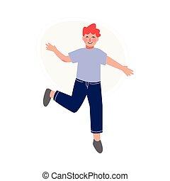 跳躍, 衣服, 子供, イラスト, 朗らかである, 男の子, 幸せ, 偶然, 持つこと, ベクトル, 喜々として, 楽しみ