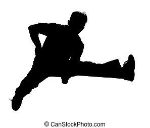 跳躍, 黑色半面畫像