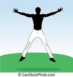 跳躍, athlet, 若い