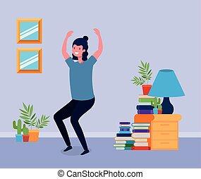 跳躍, livingroom, 若者