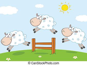 跳躍, sheep, 面白い, 3