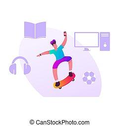 跳躍, skateboarding, activity., skateboarder, 男の子, 衣類, 帽子, ...