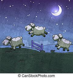 跳躍, sleep., 3, それら, 数えなさい, sheep, 上に, fence.