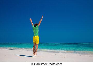 跳躍, travel., portrait., トロピカル, 若い, 夏 休暇, リラックスしなさい, 人, ハンサム, 屋外, 浜