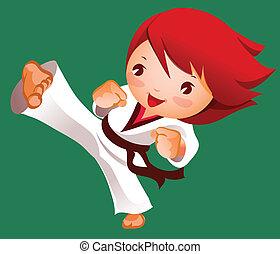 蹴り, の, 武道家