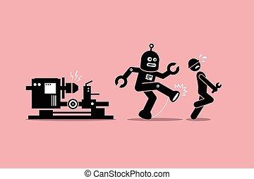 蹴り, 彼の, 人間, 離れて, 労働者, ロボット, 技術者, 仕事, 機械工, factory.
