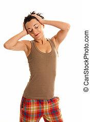 身に着けていること, ありなさい, 女, 眠い, 若い, 隔離された, 背景, 白, パジャマ